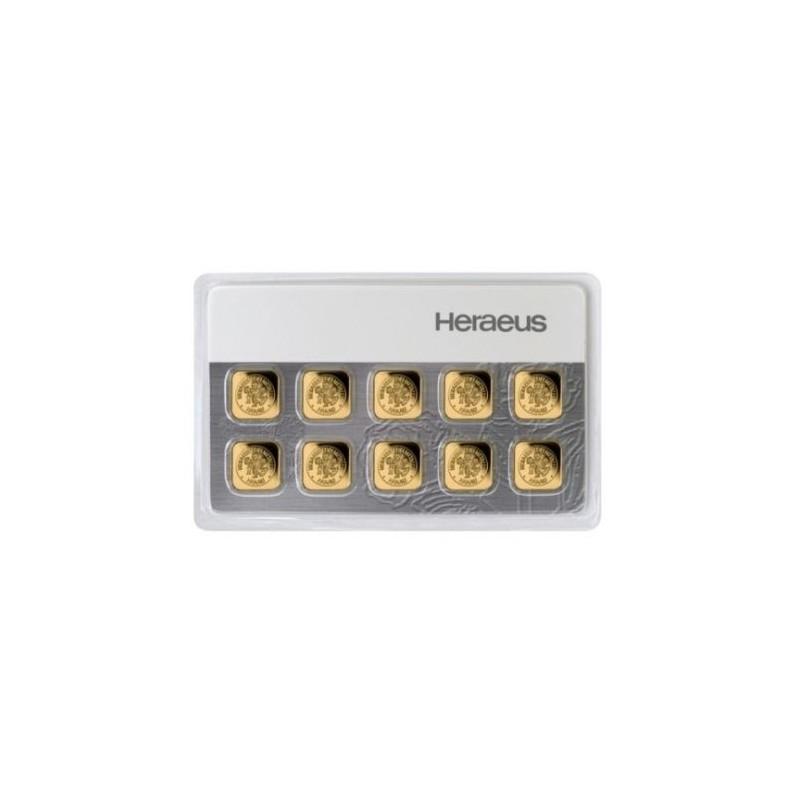 10 x 1 g Goldbar Heraeus Multibar