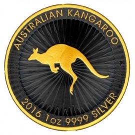 1 oz Kangaroo Nugget 2016 Silver Black Gilded