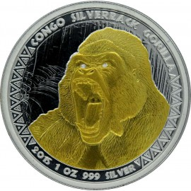1 oz Silver  silverback Gorilla Kongo 2015 Gilded