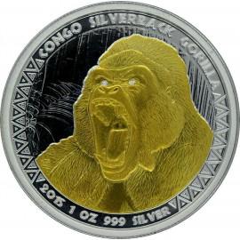1 Unze Silberrücken Gorilla Kongo 2015 Gilded