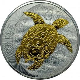 2 Unzen Silber Niue Fiji Taku Turtle  2015 Gilded