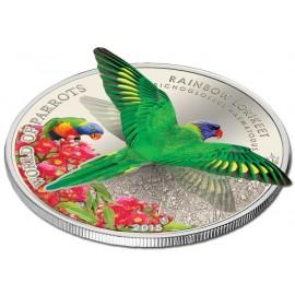 1 Unze Silber Cook Islands  World of Parrots RainbowLorikeet