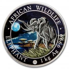 1 Kilo Silver Somalia Elefant 2016 Night