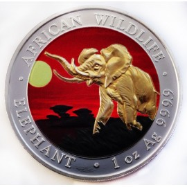 1 oz Silver Somalia Elefant 2016 Colored