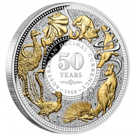 5 Unzen Silber 50 Jahre Dezimalwährung Australien Gilded Nieu