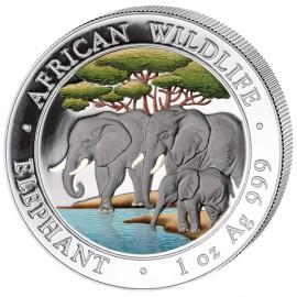 1 Unze Silber Somalia Elefant 2013 Coloriert