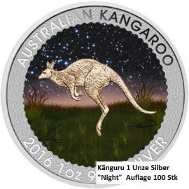 "1 Unze Silber Känguru  Nugget 2016 Farbig ""Night"""
