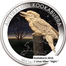 1 Unze Silber Australien Kookaburra 2016 Night farbig