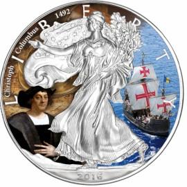 1 Unze Silber American Eagle 2016 Christoph Columbus Coloriert
