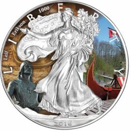 1 Unze Silber American Eagle 2016 Leif Ericson Coloriert