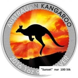 "1 Unze Silber Känguru  Nugget 2016 Farbig ""Sunset"""
