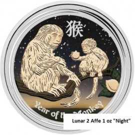 1 oz Silber Affe Lunar II 2016 coloured