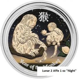 1 Unze  Silber Affe Lunar II 2016 farbig Night