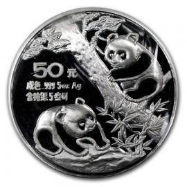 5 Unzen Silber China Panda 1990 PP BOX