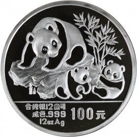 12 Unzen oz Silber China Panda 1989 PP BOX