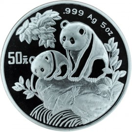 5 Unzen Silber China Panda 1992  PP Originaletui