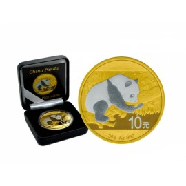1 Unze Silber China Panda 2016 Gold Platinline