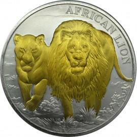 1 Unze African Lion Kongo 2016 Gilded