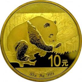 1 Unze Silber China Panda 2016 Gilded