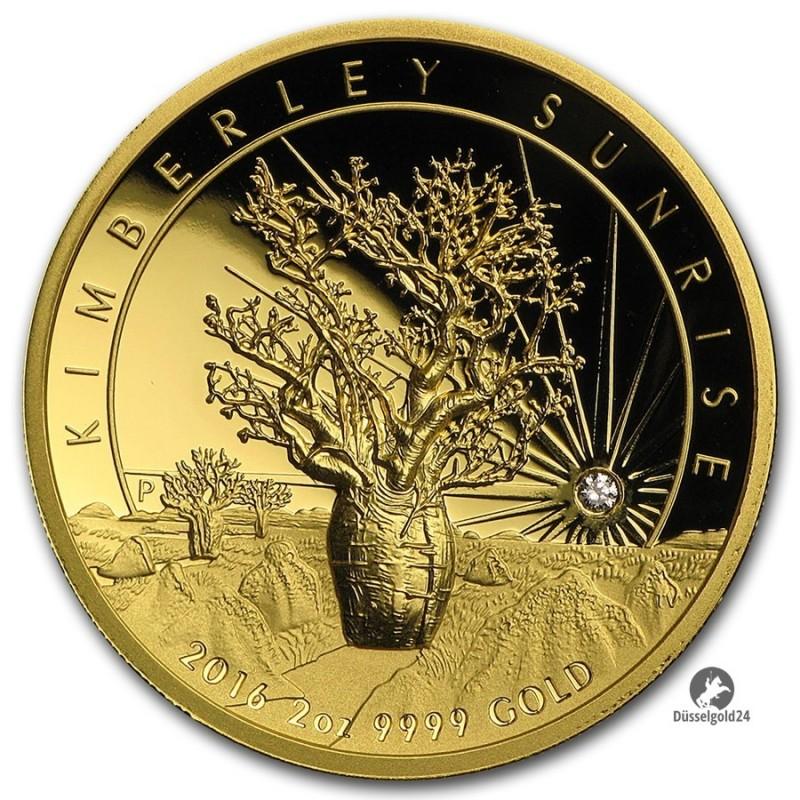 2 Unzen oz Gold Kimberley Sunrise High Relief Diamanten