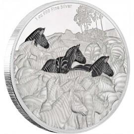 1 Unze oz Silber Zebra Große Migrationen Niue Box PP
