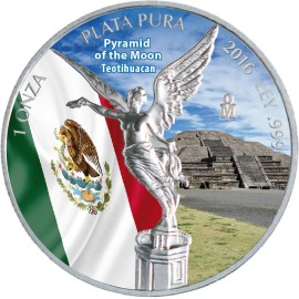 1 Unze Silber Mexiko Libertad 2016 farbig Mondpyramide