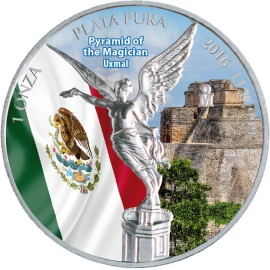 1 Unze Silber Mexiko Libertad 2016 farbig Uxmal