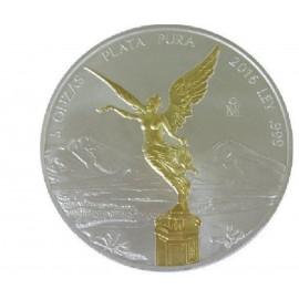 5 Unzen Silber Mexiko Libertad 2016 Gilded