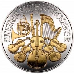1 Unze Wiener Philharmoniker Teilvergoldet Gilded 2016