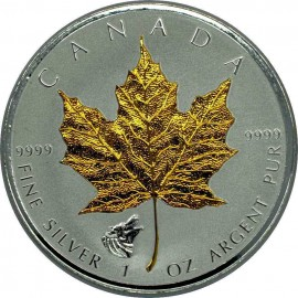 1 Unze Silber Maple Leaf 2016 Privy Wolf Gilded