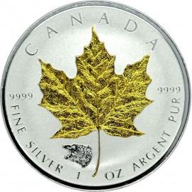 1 Unze Silber Maple Leaf 2016 Privy Bear Gilded