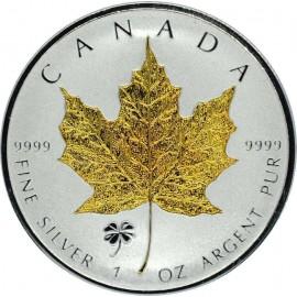 1 Unze Silber Maple Leaf 2016 Privy Shamrock Gilded