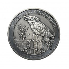 1 oz Silver Australien Kookaburra 2016antique Finish
