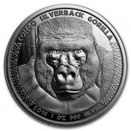 1 Unze Silber  Silberrücken Gorilla Kongo 2016