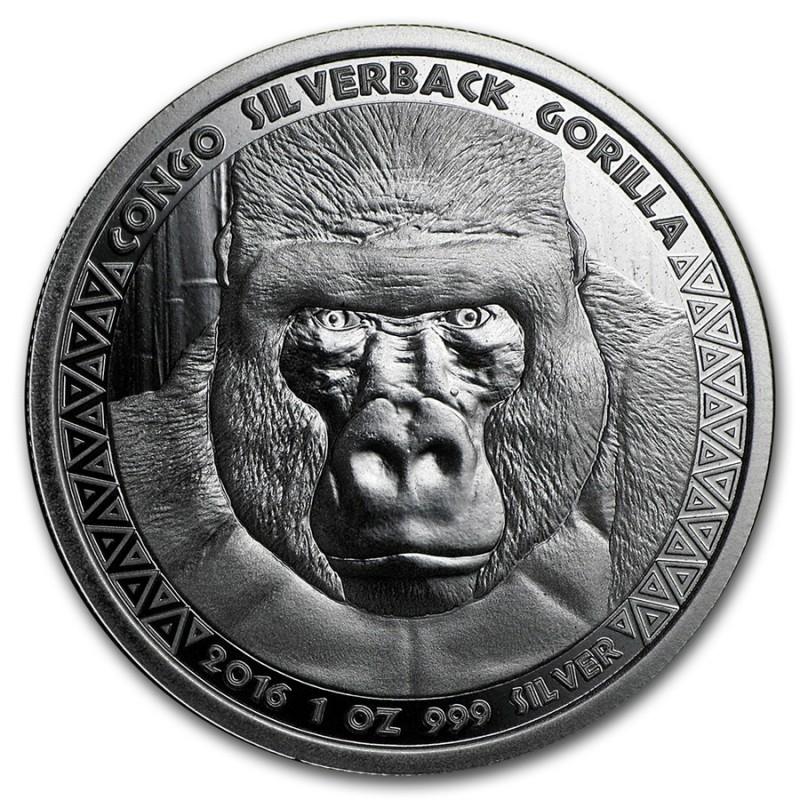 1 oz Silver  silverback Gorilla Kongo 2016