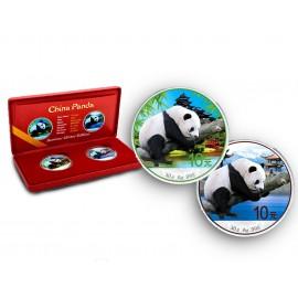 2 x 30 g Silber China Panda 2016 Coloured
