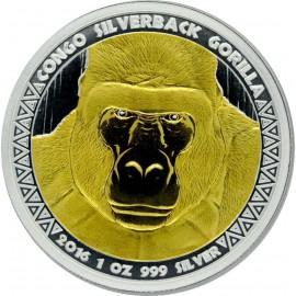 1 Unze Silberrücken Gorilla Kongo 2016 Gilded