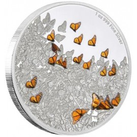1 Unze oz Silber Monarchfalter Große Migrationen Niue Box PP