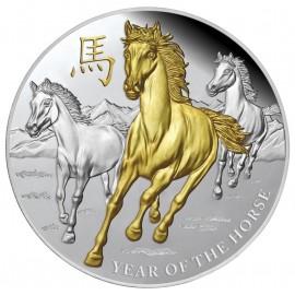 5 Unzen Silber Pferd Horse PP 2014 Gilded Niue
