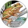 1 Unze Silber Mahagoni Green and Golden Bell frog Beutler2015