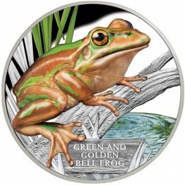 1 oz Silver Green Golden Frog