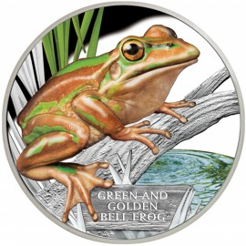 1 Unze Silber Mahagoni Green and Golden Bell frog Beutler2015