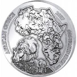 1 Unze Silber Ruanda Flusspferd 2017