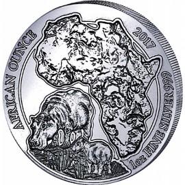 1 Unze Silber Ruanda Flusspferd 2017 PP