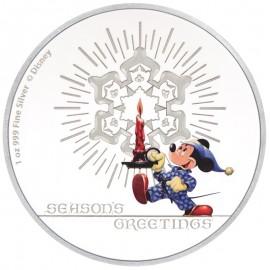 1 Unze Silber Disney Greetings Mickey Mouse 2016 Weihnachtsgrüsse
