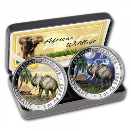 2 x 1oz Somalia Elefant Set Tag & Nacht 2017