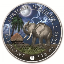 1 Kilo Silber Somalia Elefant 2017 Night Edition  farbig