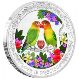 1 Unze Silber Liebe ist Wunderbar Zwergpapageien 2016