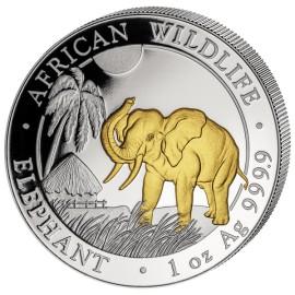 1 Unze Silber Somalia Elefant Gilded  2017