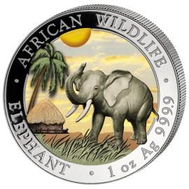 1 Unze Silber Somalia Elefant 2017 Coloriert